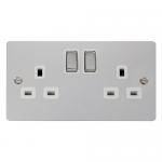 Define polished chrome 2 gang socket - white inserts