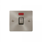 Define brushed stainless 20A double pole switch with neon - black insert