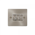 Define brushed stainless 3 gang light switch - white inserts