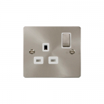 Define brushed stainless 1 gang switched socket - white inserts