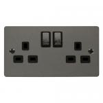 Define black nickel 2 gang switched socket