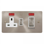 Define brushed stainless 45A double pole switch with socket and neons - white insert