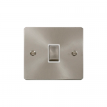 Define brushed stainless 20A double pole switch - white inserts