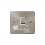 Define brushed stainless switched fused spur with flex outlet - white inserts