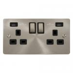 Define brushed stainless 2 gang 2xUSB socket - black insert