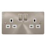 Define brushed stainless 2 gang switched socket - white inserts