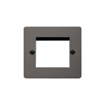 Define black nickel 1 gang plate for 2 media modules