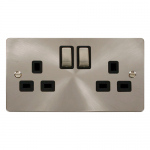 Define brushed stainless 2 gang switched socket - black inserts
