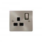 Define brushed stainless 1 gang switched socket - black inserts