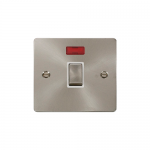 Define brushed stainless 20A double pole switch with neon - white inserts