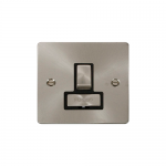 Define brushed stainless switched fused connection unit - black inserts
