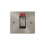 Define brushed stainless 45A double pole switch with neon - black insert