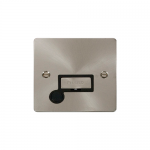 Define brushed stainless unswitched fused connection unit with flex outlet - black inserts