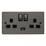 Define black nickel 2 gang switched socket with USB