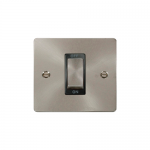 Define brushed stainless 45A double pole switch - black insert