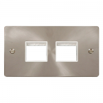 Define brushed stainless 2 gang plate 2 x 2 apertures - white inserts