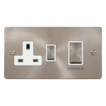 Define brushed stainless 45A double pole switch with socket - white insert