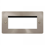 Define brushed stainless 2 gang plate for 4 media modules