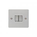 Define polished chrome 2 gang light switch - white inserts