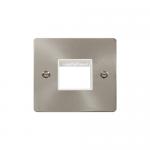 Define brushed stainless 1 gang plate for 2 minigrid modules - white insert