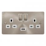 Define brushed stainless 2 gang USB socket - white insert