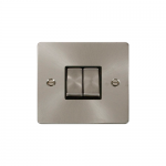 Define brushed stainless 2 gang light switch - black inserts