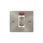 Define brushed stainless 45A double pole switch switch with neon - white insert