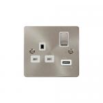 Define brushed stainless 1 gang USB socket - white insert