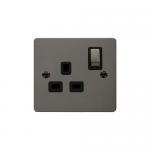 Define black nickel 1 gang switched socket