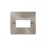 Define brushed stainless 1 gang plate for 3 minigrid modules - white insert