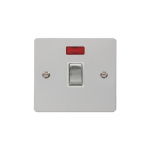 Define polished chrome 20A double pole switch  with neon - white inserts