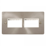 Define brushed stainless 2 gang plate for 6 minigrid modules (2x3) - white insert