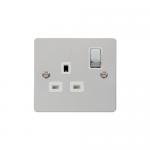 Define polished chrome 1 gang switched socket - white inserts