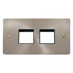 Define brushed stainless 2 gang plate 2 x 2 apertures - black inserts