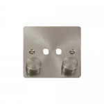 Define brushed stainless 2 gang dimmer plate and knob only. ** this item requires dimmer modules to complete **