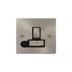 Define brushed stainless switched fused connection unit with flex outlet - black inserts
