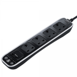 4 gang 1m surge protected extension lead with USB - gloss black