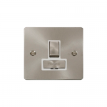 Define brushed stainless switched fused connection unit - white inserts