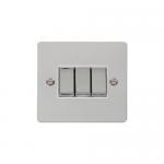 Define polished chrome 3 gang light switch - white inserts