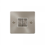 Define brushed stainless 2 gang light switch - white inserts