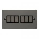 Define black nickel 6 gang 2 way switch